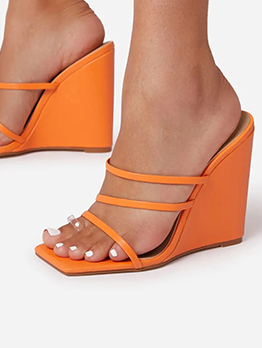 Solid Fashion Wedge Slippers For Women