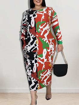Printed Crew Neck Plus Size Maxi Dresses