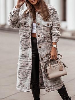 Winter Long Sleeve Woolen Long Coat For Women