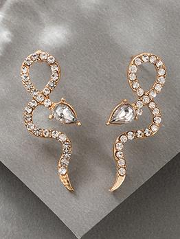 Special Snake Shape Rhinestone Earrings