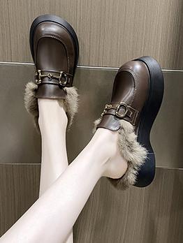 Fashion Plush Patchwork Wedge Mules Shoes