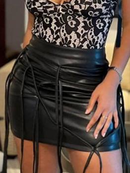 Designer Black PU Leather Zipper Skirt For Women