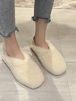 Korean Style Fluffy Slip On Flats For Ladies
