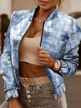 Coop Imitation Denim Zip Up Ladies Coat