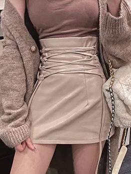 Fashion Solid Bandage Design A Line Skirt