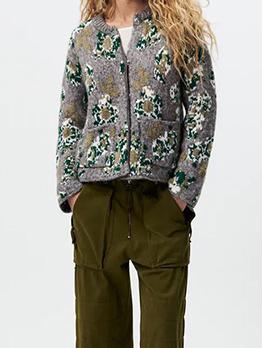 New Crew Neck Contrast Color Cardigan Sweater