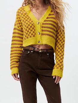 Autumn V Neck Long Sleeve Cardigan Sweater