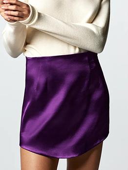 Sexy Silk Zipper Mini Skirt For Women