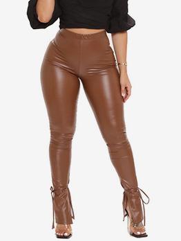 Sexy Solid Mid Waist Pu Long Pants