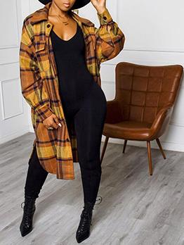 Fashion Contrast Color Long Sleeve Plaid Coat