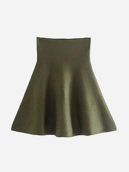 Lovely Solid  A-Line Short Skirt For Women