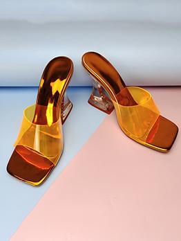 Fashion Square Toe Transparent Slip On Heels