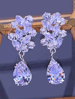 Luxurious Water Drop Zircon Bridal Earrings