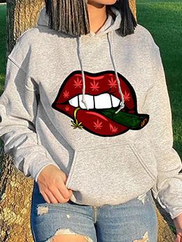 Lips Print Stylish Hoodies Sweatshirt For Women
