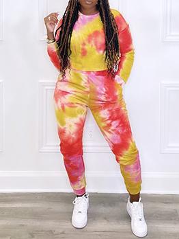 Tie Dye Print Casual Plus Size Two Pieces Pants Set