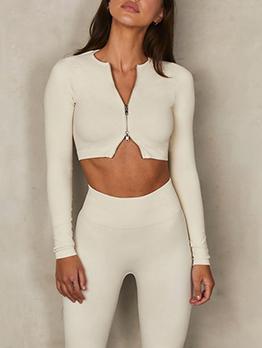 Fashion Front Zipper Long Sleeve Skinny T Shirt