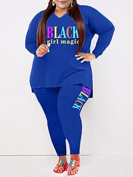 Letter Print Fashion Casual Plus Size Trouser Set