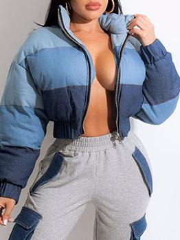 Women Contrast Color  Denim Zipper Winter Short Coat