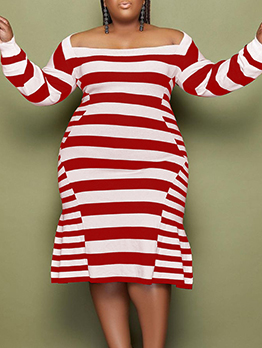Casual Striped Plus Size Long Sleeve Dresses For Women