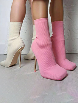 Square Toe Sexy Knitted Stretch High Heel Boots