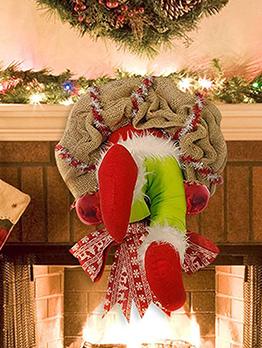 Festive Christmas Burlap Floral Ring Day Decoration