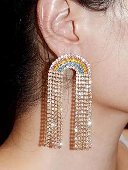 Adorable Rainbow Rhinestone Long Earring For Ladies