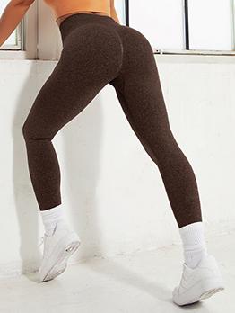 New Solid High Waist Knitting Gym Leggings