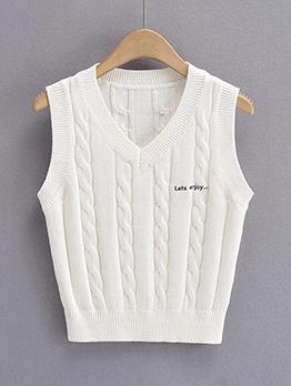 Fall Preppy Style V Neck Top Women Vest