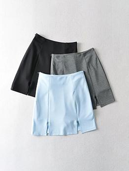 Simple Design Solid Zipper Short Skort For Women