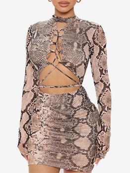 Sexy Mock Neck Leopard Print Bodycon Dresses