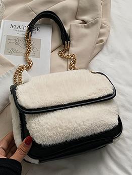 Fashion Winter Patchwork Fluffy Shoulder Bag For Women