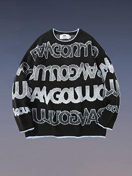Casual Hip Hop Contrast Color Oversized Sweater