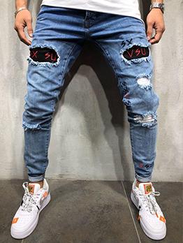 Latest Style Patchwork Design Men Pencil Jeans