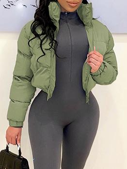 Winter Solid Zipper Short Coats For Women