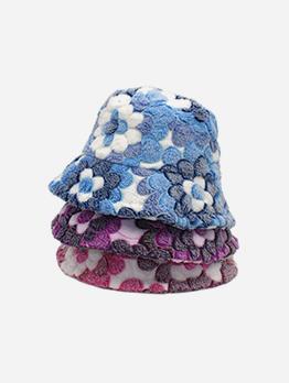 New Arrival Plush Flower Warmth Bucket Cap