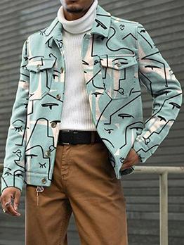 Casual Turndown Collar Outerwear For Men