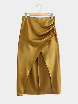 Autumn Solid High Waist Slit Satin Skirt