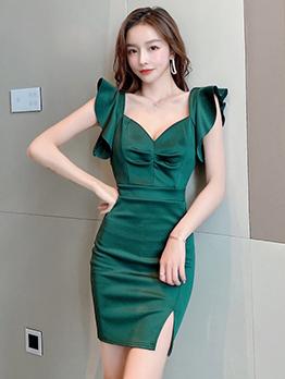 Elegant Solid Vintage V Neck Slit Short Sleeve Dress