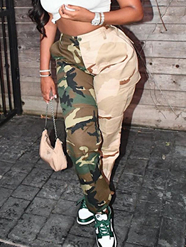 Sporty Camouflage  Mid Waist  Long Pant For Women
