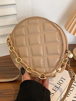 Round  White Solid Lovely Zipper Shoulder Bag For Women