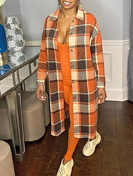 Casual Fashion Classic Plaid Woolen Coat