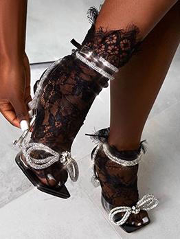 Night Club Rhinestone Bow Heeled Sandals