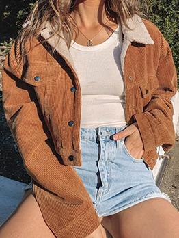 Fashion Turn-Down Warmth Corduroy Jacket Women