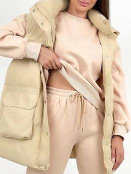 Street Winter Cotton Pocket Sleeveless Above Knee Coats