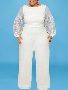 Sequins Sleeve Design Casual Autumn Jumpsuits