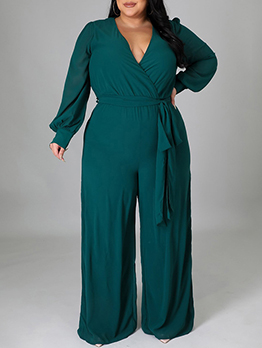 Solid Fashionable Casual Straight Jumpsuits For Female
