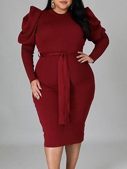 Long Sleeve Solid Plus Size Sheath Dresses