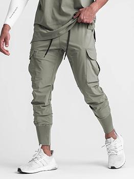 Casual Drawstring  Black Cargo Pants For Men