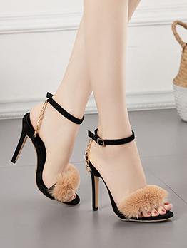 Chic Plush Golden Chain Open Toe Heeled Sandals