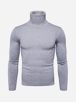 High Neck Casual Fashion Men Long Sleeve Tee